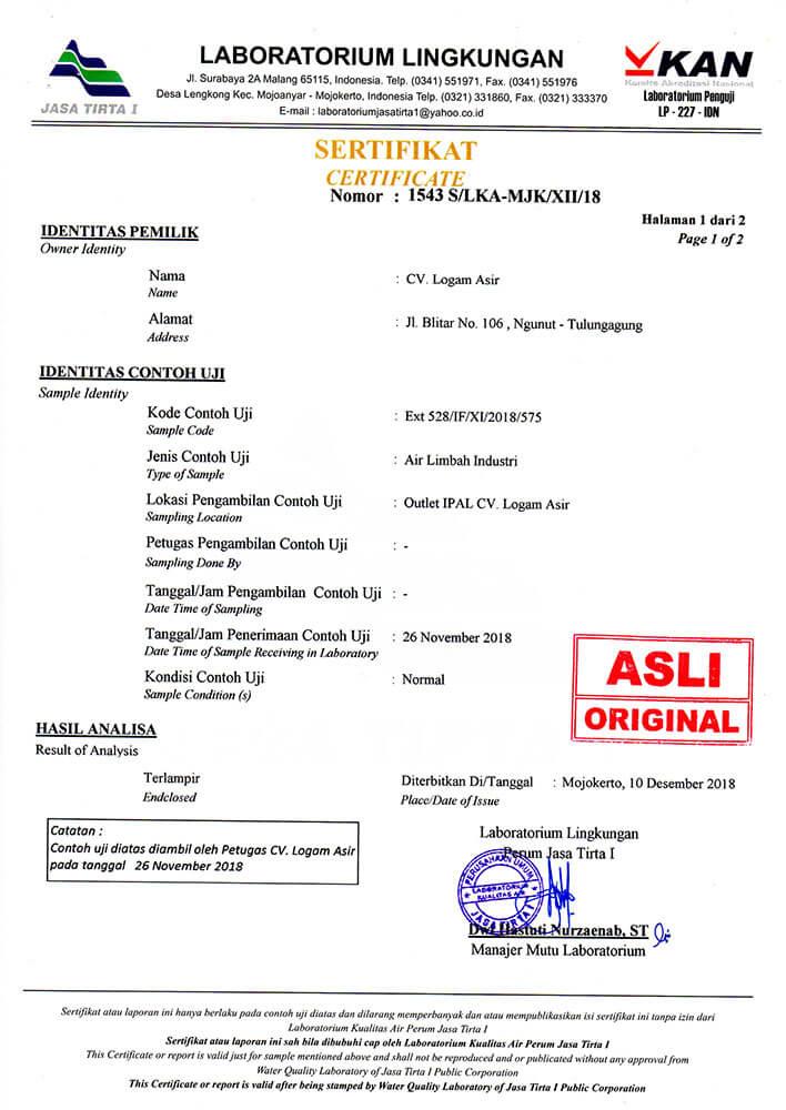 sertifikat uji kelayakan ipal lulus sesuai standart baku mutu 01